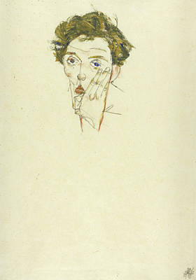 Self Drawing - Self Portrait by Egon Schiele