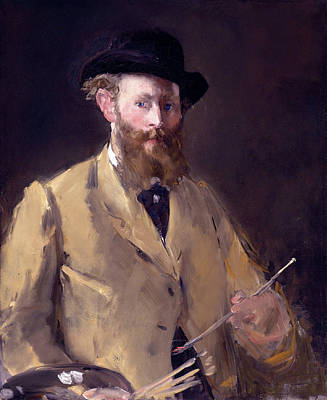 Impressionism Painting - Self Portrait With A Palette by Edouard Manet
