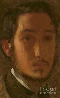 Self-portrait With White Collar Print by Edgar Degas