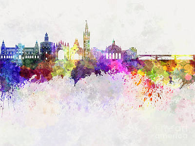 Seville Painting - Seville Skyline In Watercolor Background by Pablo Romero