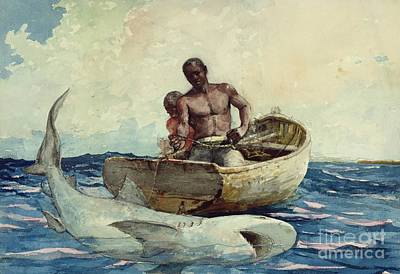 Shark Painting - Shark Fishing by Winslow Homer