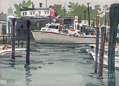 Harbor Painting - Shark River Inlet by Donald Maier