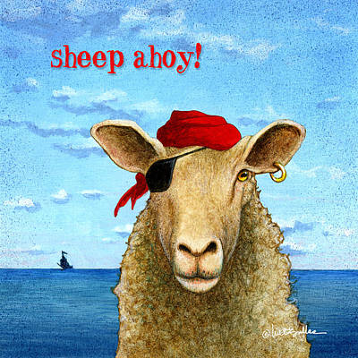Pirate Ship Painting - Sheep Ahoy by Will Bullas