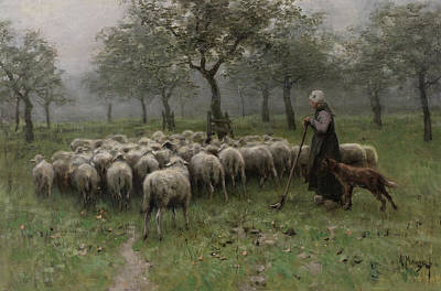 Puppy Painting - Shepherdess With A Flock Of Sheep by Anton Mauve