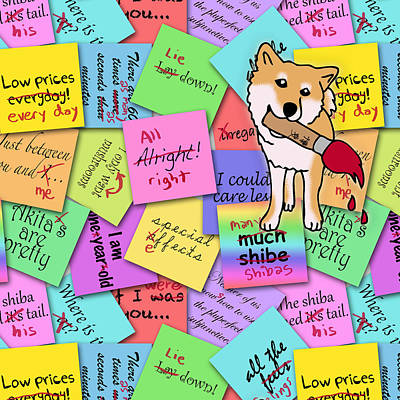 Post It Digital Art - Shibas Take Back Grammar by Aiko Wan