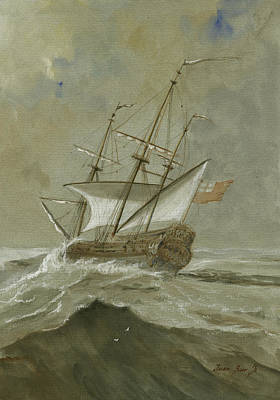 Sail-ship Painting - Ship At The Storm by Juan Bosco