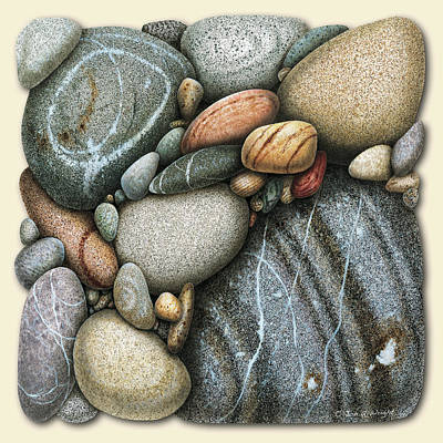 Round Painting - Shore Stones 3 by JQ Licensing