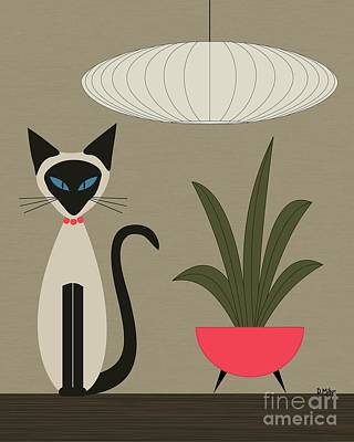 Siamese Cat On Tabletop Print by Donna Mibus
