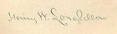 Signature Of Henry Wadsworth Longfellow Print by Vintage Design Pics