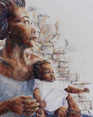 Bright Watercolor Portrait Bright Watercolor Painting - Silent Plea by Daryl R Nicholson