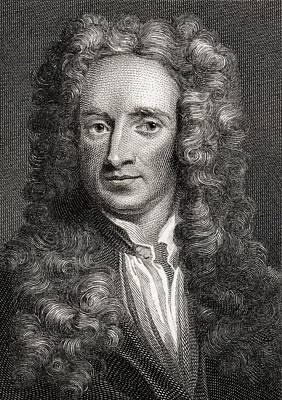 Newton Drawing - Sir Isaac Newton, 1642-1727. English by Vintage Design Pics