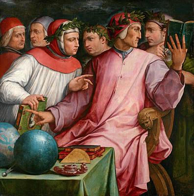 Giorgio Vasari Painting - Six Tuscan Poets by Giorgio Vasari