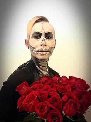 Floral Digital Art - Skull Tux And Roses by Kent Chua