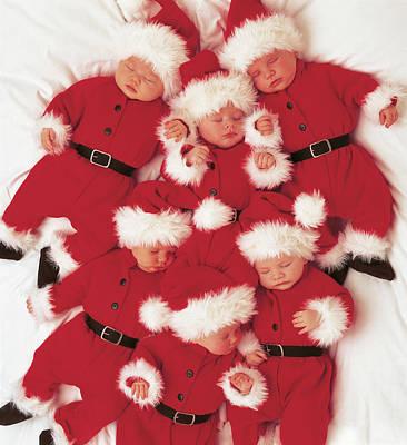 Merry Christmas Photograph - Sleepy Santas by Anne Geddes
