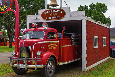 Headlight Photograph - Small Fire House 1 by Garry Gay