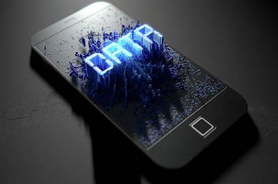 Smart Digital Art - Smart Phone Emanating Data by Allan Swart