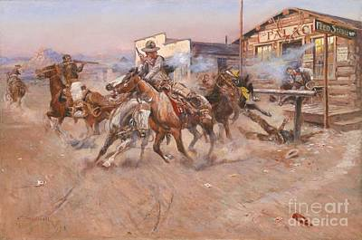 Cowboy Painting - Smoke Of A .45 by Charles Marion Russell