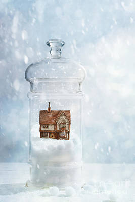 Snow Globe With Country Cottage Print by Amanda Elwell