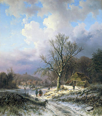 Alexander Joseph Daiwaille Painting - Snow Landscape by Alexander Joseph Daiwaille