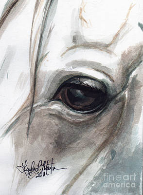 Horse Eye Painting - Snowman by Linda L Martin