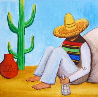 Poncho Painting - Sombrero by Lucy Deane