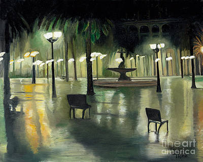 Rainy Night Painting - Spain In The Rain by Toni  Thorne