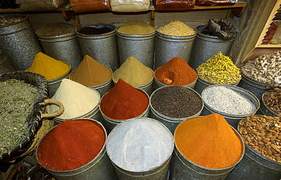 Grounds For Photograph - Spices For Sale In Souk, Fes, Morocco by Panoramic Images