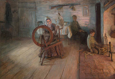 Cabin Interiors Painting - Spinning By Firelight by Mountain Dreams