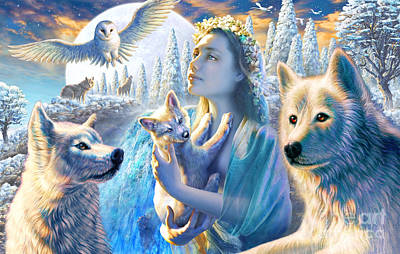 Wolves Digital Art - Spirit Of The Mountain by Adrian Chesterman