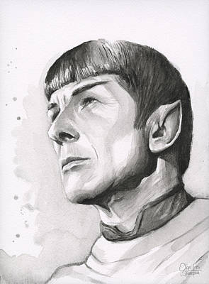 Star Trek Painting - Spock Portrait by Olga Shvartsur
