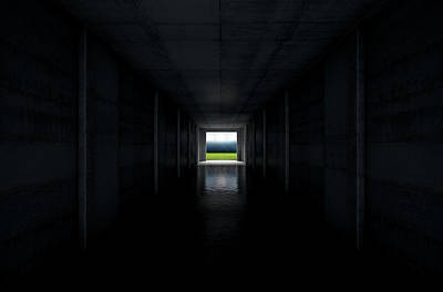 Sports Stadium Tunnel Print by Allan Swart