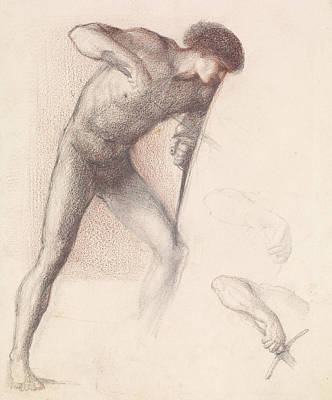Saint George Drawing - St George Series Male Nude  by Edward Burne-Jones