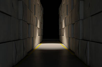 Hallway Digital Art - Stacked Boxes Warehouse by Allan Swart