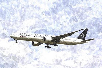 Jet Star Photograph - Star Alliance Boeing 777 Art by David Pyatt