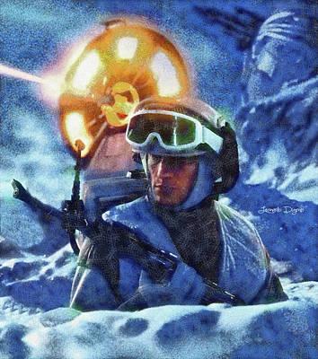 Battle Painting - Star Wars Battle Of Hoth - Wax Over Oil Canvas by Leonardo Digenio