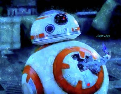 Thumbs Painting - Star Wars Bb-8 Thumbs Up - Aquarell Style by Leonardo Digenio