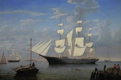 Starlight In Harbor Print by Fitz Henry Lane
