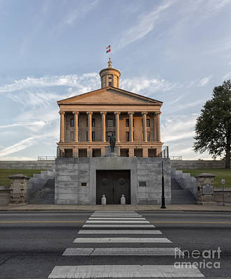 Capital Building In Nashville Tennessee Photograph - State Capital Building Of Nashville Tennessee At Sunrise by Jeremy Holmes