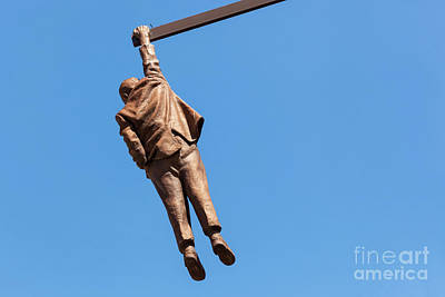 Freud Photograph - Statue Of Sigmund Freud Hanging By One Hand In Prague, Czech Republic. by Michal Bednarek