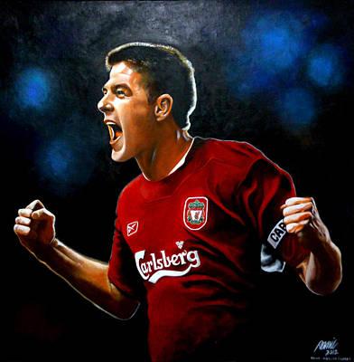 Steven Gerrard Painting Print by Ramil Roscom Guerra