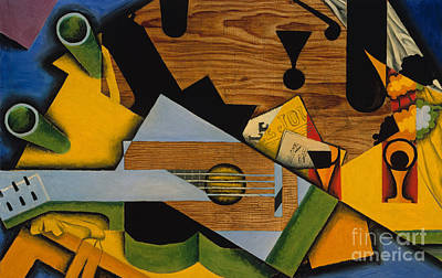 With Guitar Painting - Still Life With A Guitar by Juan Gris