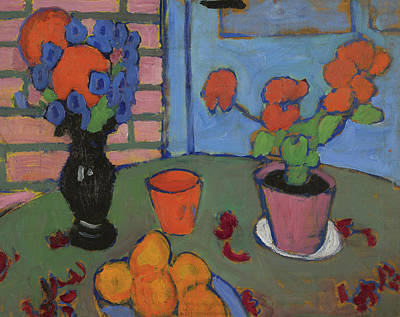 Still Life With Flowers And Oranges Print by Alexej von Jawlensky