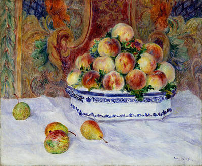 Peaches Painting - Still Life With Peaches by Pierre-Auguste Renoir