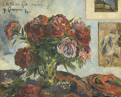 Still Life With Peonies Print by Paul Gauguin
