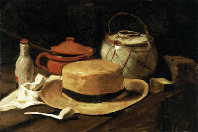 Bottle Painting - Still Life With Straw Hat by Vincent van Gogh