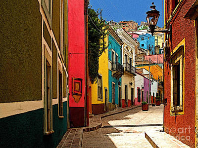 Street Of Color Guanajuato 2 Print by Mexicolors Art Photography