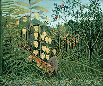 Pseudo Painting - Struggle Between Tiger And Bull by Henri Rousseau