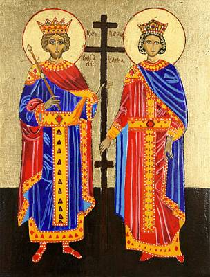 Russian Icon Painting - Sts. Constantine And Helen by Amy Reisland-Speer