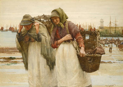 Drawing - Study For Breadwinners by Walter Langley