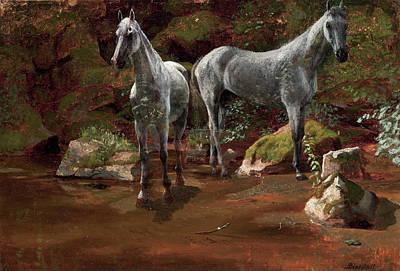 Study Of Wild Horses Print by Albert Bierstadt